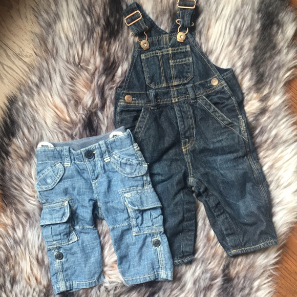Baby Gap Denim Dungarees 3-6 Months Boy Girl Clothing Excellent Condition Moderate Price Bottoms Boys' Clothing (newborn-5t)